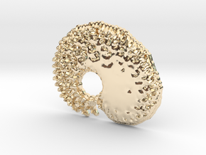 3D Fractal Tadpole Pendant in 14K Yellow Gold