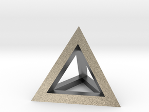 Hollow Pyramid Pendant in Natural Silver