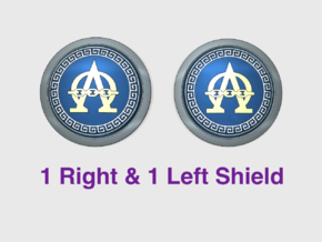 Alpha Omega - Round Power Shields (L&R) in Smooth Fine Detail Plastic: Small
