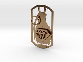 Diamond grenade dog tag in Natural Brass