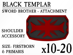 10-20x Black Templar shoulder plates in Smooth Fine Detail Plastic: Small