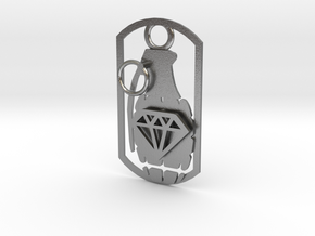 Diamond grenade dog tag in Natural Silver