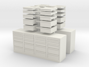 1/50th Toolbox chests 8' long, one w open drawers in White Natural Versatile Plastic