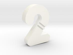 Digit-2 d2 in White Processed Versatile Plastic
