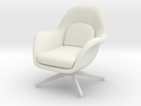 1:12 MiniatureSwoon Lounge Chair petit Swivel Base in White Natural Versatile Plastic