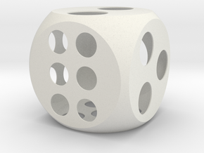 Balanced Dice 4in in White Natural Versatile Plastic