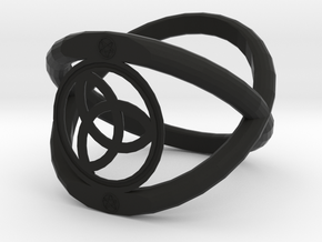 Wiccan Power Of Three Ring in Black Natural Versatile Plastic