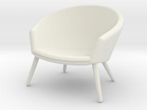 1:12 Miniature Ditzel Lounge Chair - Nanna Ditzel  in White Natural Versatile Plastic