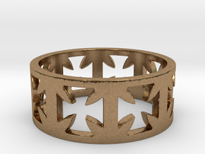 Outlaw Biker Cross Ring Size 13 in Natural Brass