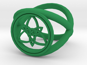 Wiccan Power Of Three Ring (Model Two) in Green Processed Versatile Plastic
