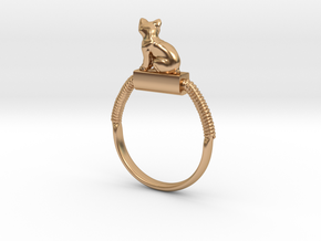 Egyptian Cat Ring, Variant 2, Sz. 4-13 in Polished Bronze: 4 / 46.5