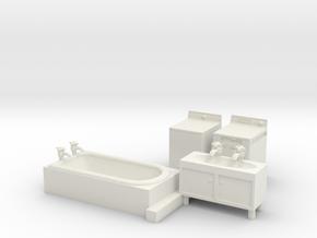 S Scale Modern Bathroom Set in White Natural Versatile Plastic