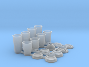 Coffee and Soda Cups in 1/12 scale in Smooth Fine Detail Plastic