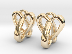 Interlocked Heart Earrings in 14K Yellow Gold