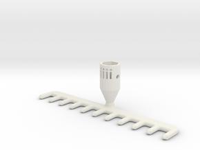 Miniature Gardening Rake  in White Natural Versatile Plastic