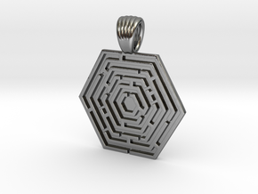 Hexa maze [pendant] in Polished Silver