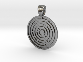 Circle Maze [pendant] in Polished Silver