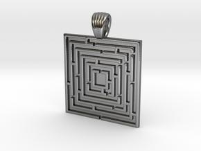 Square maze [pendant] in Polished Silver