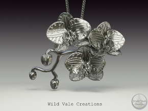 Orchid Pendant in Natural Silver