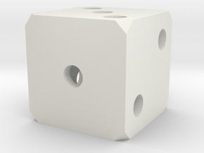 Hollow Dice in White Natural Versatile Plastic