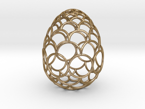 Filigree Egg - 3D Printed in Metal for Easter in Polished Gold Steel