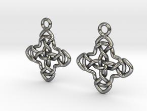 Double celtic cross [Earrings] in Polished Silver