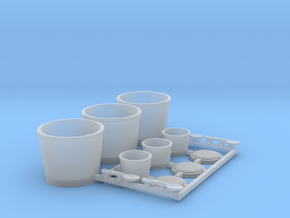 Fastfood Buckets and Cups 1/12 scale in Smooth Fine Detail Plastic