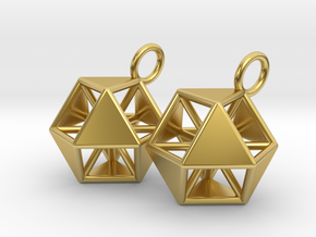 Vector Equilibrium Earrings in Polished Brass