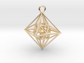 24 Cell Octaplex 4D Platonic Hypersolid 30mm in 14k Gold Plated Brass