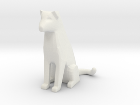 Sitting Cat Dog in White Natural Versatile Plastic: Small