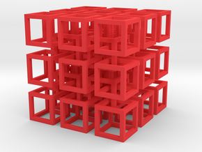 Interlocked Cubes in Red Strong & Flexible Polished