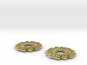 Inca Cross Earrings in 18k Gold Plated Brass: Medium