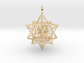 Angel Starship Stellated Dodecahedron - Male Angel in 14k Gold Plated Brass