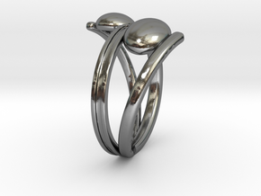 Crossed ring with balls [openring] in Polished Silver