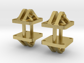 VR Pin Arch Gantry 4x Foot (Brass) 1:87 Scale in Natural Brass