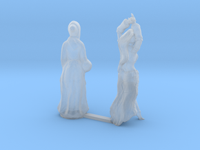 HO Scale Old Lady and Young Dancer in Smooth Fine Detail Plastic