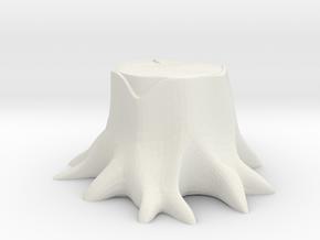 Miniature tree stump in White Natural Versatile Plastic