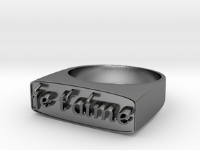 """RING   """" Je t'aime """"   U.S Size  9 in Polished Silver"""