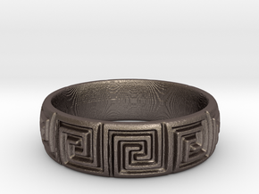Maze Pattern Ring in Polished Bronzed Silver Steel