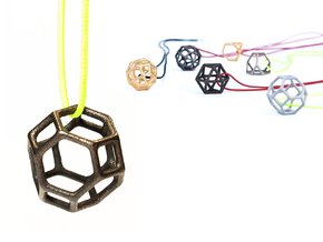 Polyhedral Jewelry: Truncated Octahedron in Polished and Bronzed Black Steel