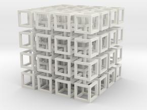 interlocked cubes 4 in White Natural Versatile Plastic