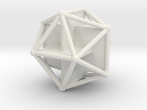 Golden Icosahedron in White Natural Versatile Plastic
