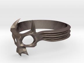Skull Mask Ring -v2 in Stainless Steel