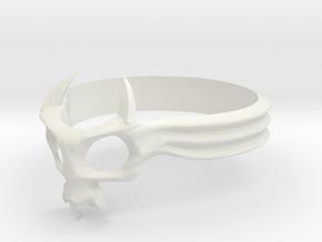 Skull Mask Ring -v2 in White Natural Versatile Plastic