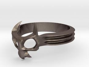 Skull Mask Ring -v3 in Stainless Steel