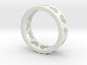 Ring with hearts in White Natural Versatile Plastic