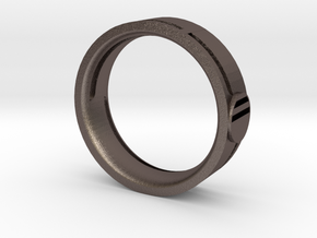 Men's Wedding Band in Polished Bronzed Silver Steel