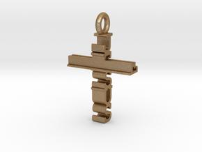 Jesus Cross Pendant in Matte Gold Steel