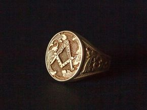 Masonic Signet Ring in Polished Brass: 10.25 / 62.125