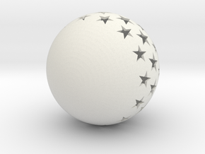 Christmasball with stars in White Natural Versatile Plastic